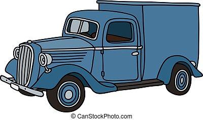 classieke, blauwe , aflevering, auto