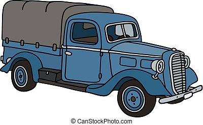 classieke, blauwe , kleine, vrachtwagen