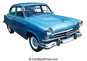 classieke, blauwe , retro, auto, vrijstaand