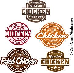classieke, chicken, postzegels
