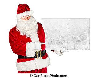 classieke, claus, traditionele , kerstman, buitenreclame, wit rood