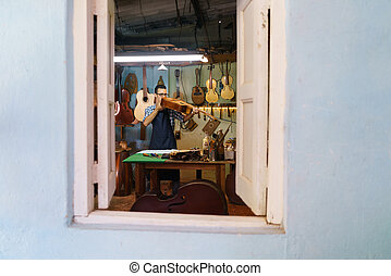 classieke, controleren, instrumenten, gitaar, atelier, luit, muziek, maker