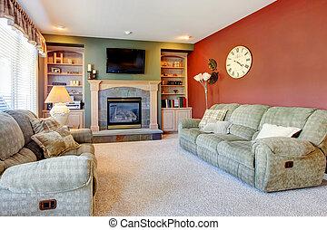 classieke, cozy, woonkamer, interieur, met, openhaard, en, rood, wall.