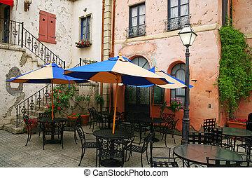 classieke, europeaan, terrasjes