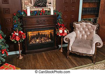 classieke, evening., flats, kadootjes, boom., fireplace., kerstmis