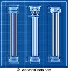 classieke, kolommen, bouwschets, schets