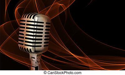 classieke, microfoon, closeup