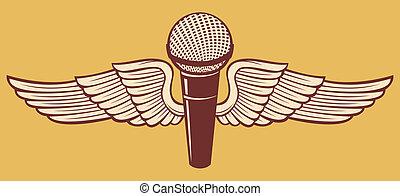 classieke, microfoon, en, vleugels