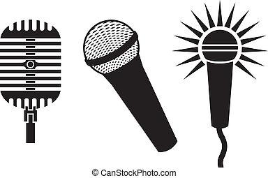 classieke, microfoons, symbolen
