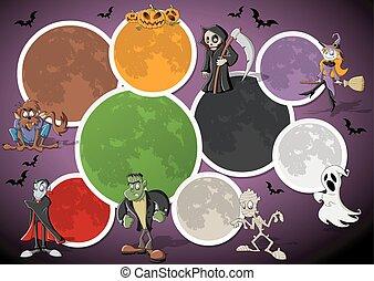 classieke, monster, karakters, spotprent