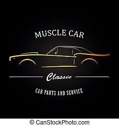 classieke, muscle, auto, silhouette.