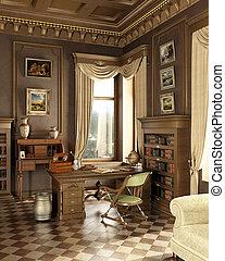 classieke, oud, studio, room.