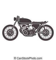 classieke, ouderwetse , thema, racer, motorfiets, koffiehuis