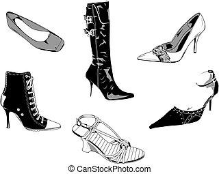 classieke, schoentjes, vrouwen