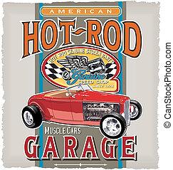 classieke, snelheid, garage