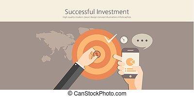 classieke, succesvolle , concept., moderne, ontwerp, investering