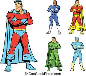 classieke, superhero, en, koel, variatio