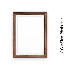classieke, van hout vensterraam, vrijstaand, op wit, achtergrond
