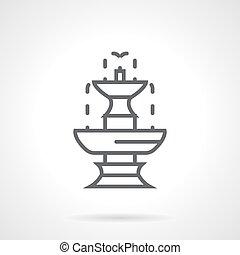 classieke, vector, fontijn, black , lijn, pictogram