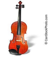classieke, vrijstaand, achtergrond, viool, schaduw, witte