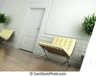 classieke, witte , interieur, gebogen