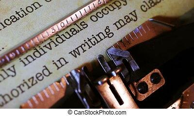 classifié, document, machine écrire