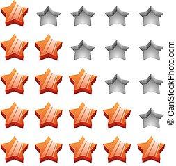 classificação, estrelas, isolado, experiência., vetorial, modelo, branco vermelho, 3d