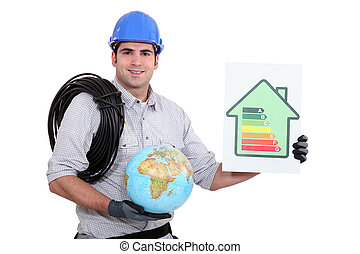 classificatie, elektromonteur, globe, meldingsbord, doelmatigheid, vasthouden, energie