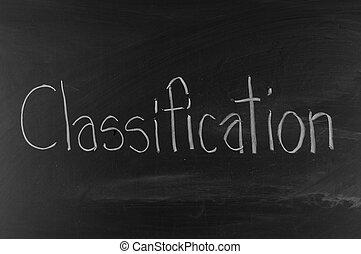 classificatie, geschreven, op, bord, achtergrond, hoog, resolutie