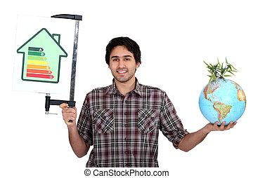classificatie, globe, tabel, doelmatigheid, vasthouden, energie, man