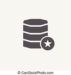 classificatie, ster, best, favoriet, teken., databank, symbool, pictogram