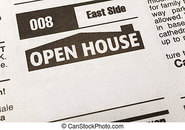 Classified Ad Open House - newspaper Classified Ad, Open...
