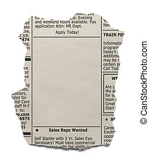 Classified Ad - Newspaper clipping of the want ads with copy...