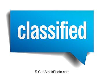 classified blue 3d realistic paper speech bubble