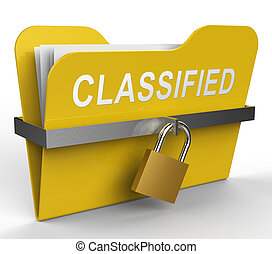 Classified Folder Indicates Restricted Information 3d Rendering