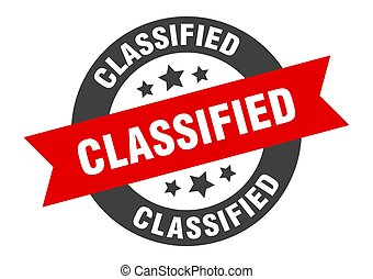 classified sign. classified black-red round ribbon sticker