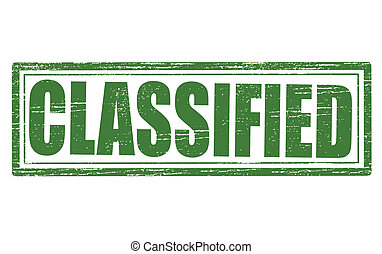 Classified - Stamp with word classified inside, vector...