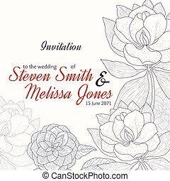 classique, élégant, vendange, cadre, mariage, vecteur, texte, retro, invitation, floral, noir, fleurs, dessin, rouges, design.