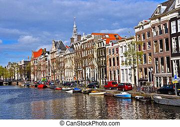 classique, amsterdam, vue., bateau, flotte, sur, les, canal,...