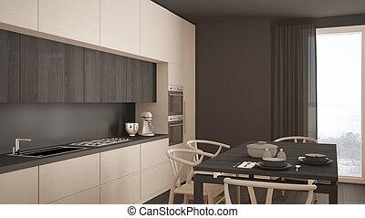 classique, bois, moderne, plancher, conception, intérieur, blanc, minimal, cuisine