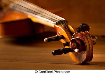classique, bois, vendange, musique, fond, violon