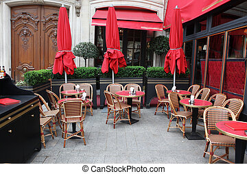 classique, café, rue, vide, européen