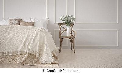 classique, chambre à coucher, minimalistic, conception intérieur, blanc