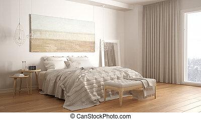 Intérieur, style, scandinave, chambre à coucher. Style, beaucoup ...