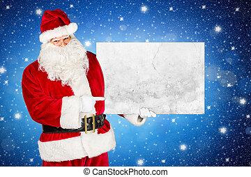 classique, claus, traditionnel, santa, panneau affichage, blanc rouge