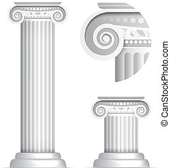 classique, colonne, grec, romain, ionique, ou