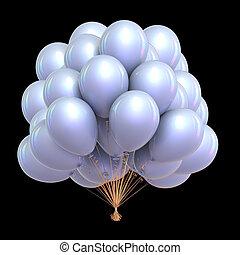 classique, décoration, fête, blanc, vacances, ballons, tas