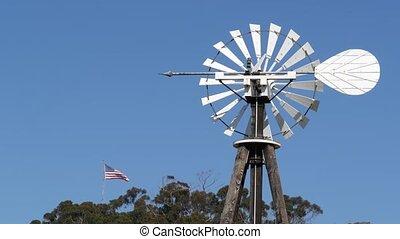 classique, drapeau, retro, éolienne, farm., rustique, usa, ...
