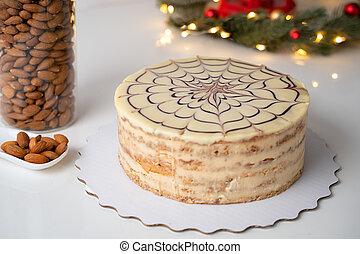 classique, esterhazy, au-dessus, gâteau, horizontal, blanc, table, vue