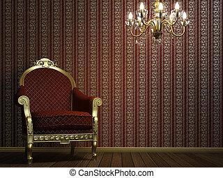 classique, fauteuil, à, lampe, et, doré, détails